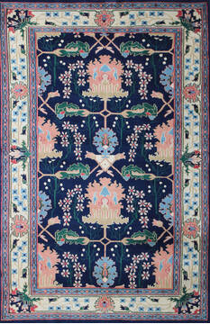 "Kashan Multicolor Hand Knotted 6'0"" X 9'0""  Area Rug 902-137513"