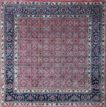 Indian Kashan Purple Square 5 to 6 ft Wool Carpet 137514
