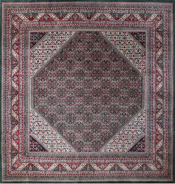 Indian Kashan Green Square 7 to 8 ft Wool Carpet 137515
