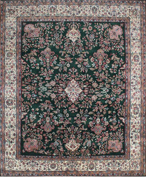 Indian Kashan Green Rectangle 8x10 ft Wool Carpet 137516