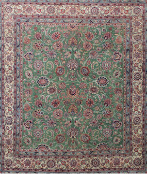Indian Kashan Green Rectangle 8x10 ft Wool Carpet 137517