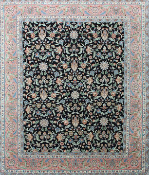 Indian Kashan Black Rectangle 8x10 ft Wool Carpet 137522