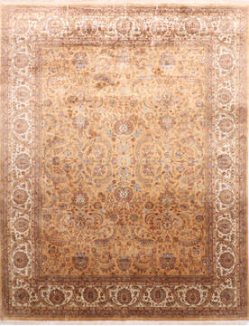 "Jaipur Yellow Hand Knotted 7'10"" X 10'1""  Area Rug 905-137534"