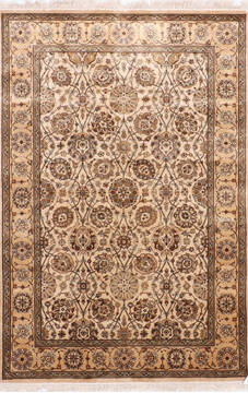 Indian Jaipur Beige Rectangle 4x6 ft Silk Carpet 137540