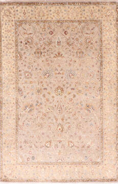 Indian Jaipur Brown Rectangle 4x6 ft Wool and Raised Silk Carpet 137555