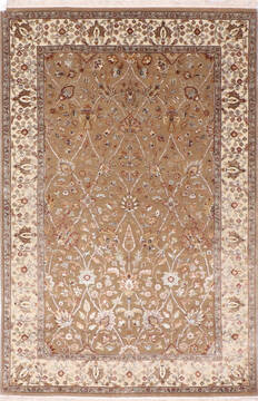 Indian Jaipur Brown Rectangle 4x6 ft Wool and Raised Silk Carpet 137556