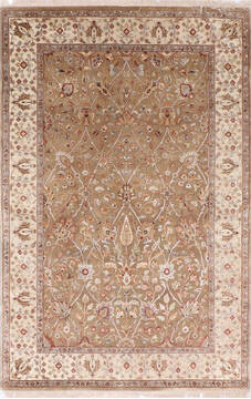 Indian Jaipur Brown Rectangle 4x6 ft Wool and Raised Silk Carpet 137560