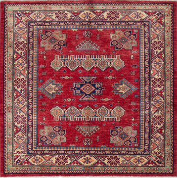 "Kazak Red Square Hand Knotted 4'11"" X 5'1""  Area Rug 700-137571"