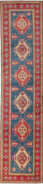 "Kazak Blue Runner Hand Knotted 2'7"" X 11'4""  Area Rug 700-137588"