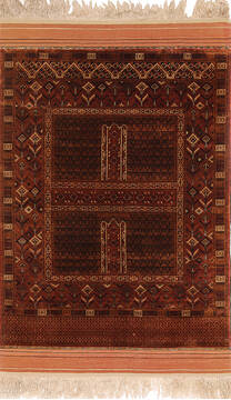 "Turkman Beige Hand Knotted 3'10"" X 6'6""  Area Rug 254-137589"