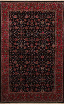 Persian Bidjar Black Rectangle 7x10 ft Wool and Silk Carpet 137590