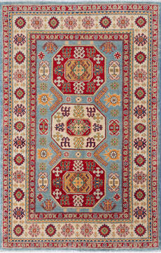 "Kazak Blue Hand Knotted 4'1"" X 6'4""  Area Rug 700-137612"