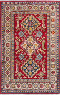 "Kazak Red Hand Knotted 4'0"" X 6'2""  Area Rug 700-137616"