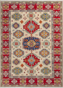 Afghan Kazak Beige Rectangle 5x8 ft Wool Carpet 137619