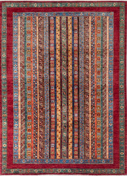 "Chobi Red Hand Knotted 5'9"" X 7'10""  Area Rug 700-137636"