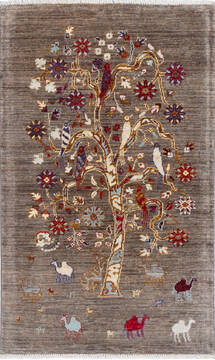 "Chobi Brown Hand Knotted 2'11"" X 4'9""  Area Rug 700-137644"