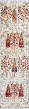"Chobi White Runner Hand Knotted 2'8"" X 9'8""  Area Rug 700-137649"