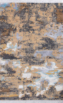 "Modern Multicolor Hand Knotted 4'1"" X 6'2""  Area Rug 700-137661"
