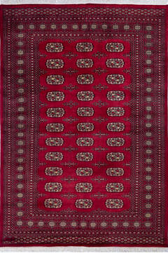 "Bokhara Red Hand Knotted 5'9"" X 8'3""  Area Rug 700-139937"