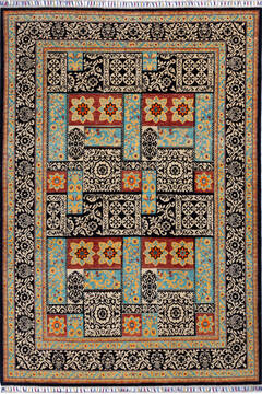 Afghan Chobi Black Rectangle 5x8 ft Wool Carpet 139944