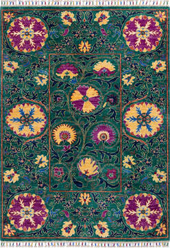"Chobi Green Hand Knotted 4'1"" X 5'7""  Area Rug 700-139945"