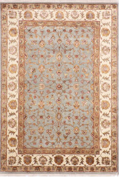 Indian Jaipur Blue Rectangle 5x7 ft Wool and Raised Silk Carpet 139965