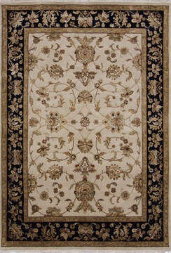 Indian Jaipur Beige Rectangle 5x7 ft Wool and Raised Silk Carpet 139976