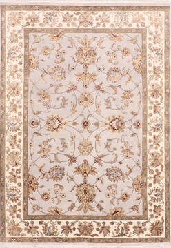 Indian Jaipur Grey Rectangle 5x7 ft Wool and Raised Silk Carpet 139981