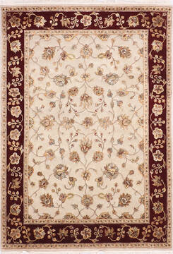 "Jaipur White Hand Knotted 4'11"" X 7'2""  Area Rug 905-139993"