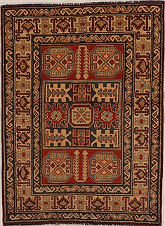 Pakistani Kazak Red Rectangle 3x4 ft Wool Carpet 14003
