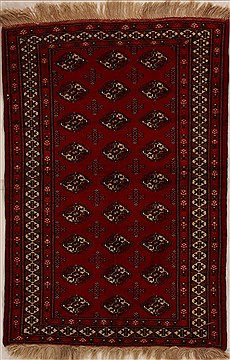 Afghan Bokhara Red Rectangle 3x5 ft Wool Carpet 14011