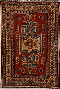 Pakistani Kazak Red Rectangle 3x4 ft Wool Carpet 14021