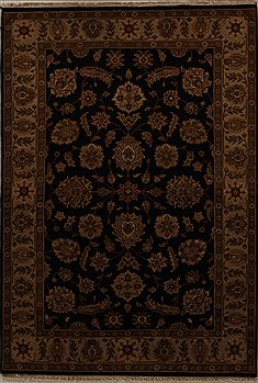 Indian Agra Black Rectangle 6x9 ft Wool Carpet 14060