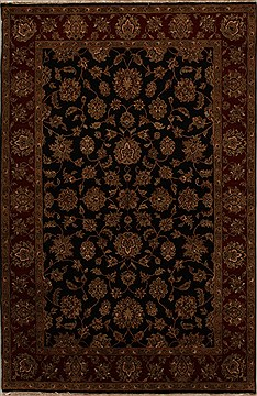 Indian Agra Black Rectangle 6x9 ft Wool Carpet 14079