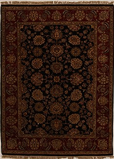 "Indian Agra  Wool Black Area Rug  (5'0"" x 6'9"") - 251 - 14080"