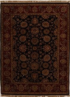 "Indian Agra  Wool Black Area Rug  (5'0"" x 6'9"") - 251 - 14080"