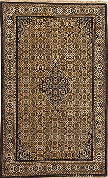 Persian Ardebil Beige Rectangle 6x9 ft Wool Carpet 14128