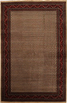 Indian Hamedan Beige Rectangle 6x9 ft Wool Carpet 14158