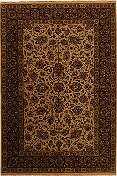 Indian Kashan Beige Rectangle 6x9 ft Wool Carpet 14159