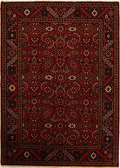 "Karajeh Red Hand Knotted 5'6"" X 7'7""  Area Rug 251-14161"