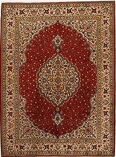 Persian Tabriz Red Rectangle 8x11 ft Wool Carpet 14168
