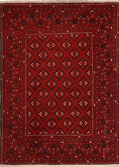 Pakistani Khan Mohammadi Red Rectangle 8x11 ft Wool Carpet 14176