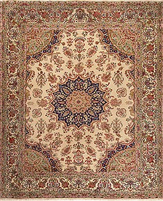 Persian Kerman Beige Rectangle 9x12 ft Wool Carpet 14181