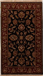 "Indian Agra Wool Black Rectangle Area Rug  (3'0"" x 5'2"") - 251-14186"