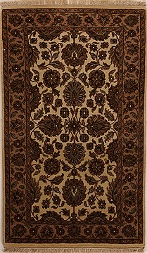 "Agra Beige Hand Knotted 3'1"" X 5'1""  Area Rug 251-14190"