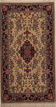 Pakistani Isfahan Beige Rectangle 3x5 ft Wool Carpet 14197