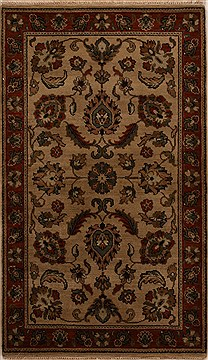 "Agra Beige Hand Knotted 3'1"" X 5'3""  Area Rug 251-14212"