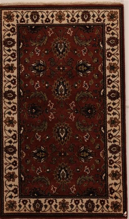 Indian Agra Brown Rectangle 3x5 Ft Wool Carpet 14213 Sku