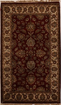 "Agra Red Hand Knotted 3'2"" X 5'3""  Area Rug 251-14216"