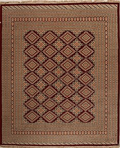 Pakistani Bokhara Red Rectangle 8x10 ft Wool Carpet 14231